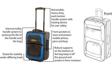 Henselite Bowls Trolley Bag HT651 Extended Handle Front View