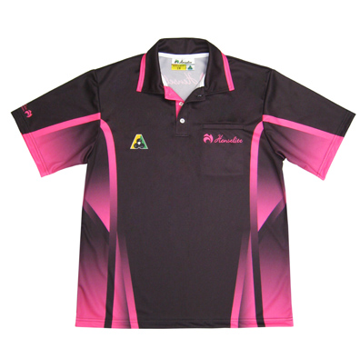 Henselite Tournament Polo Shirt Black Pink Front View