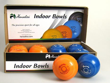 "Henselite 4"" indoor Bowls Orange Blue"